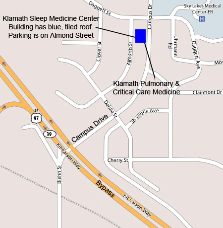 Map to Klamath Pulmonary & Critical Care Medicine